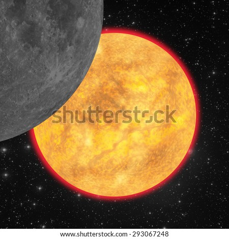 Sun eclipse. Digital illustration. No elements of NASA or other third party. - stock photo
