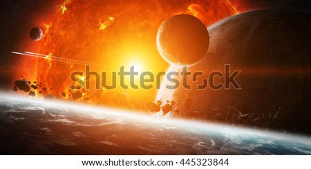 Sun exploding close to inhabited planets system '3D rendering' 'elements of this image furnished by NASA' - stock photo