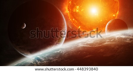 Sun exploding close to inhabited planets system 'elements of this image furnished by NASA' '3D rendering' - stock photo