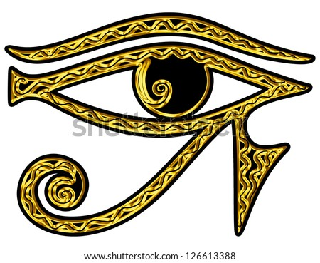 Sun EYE OF HORUS - reverse moon eye of Thoth - stock photo