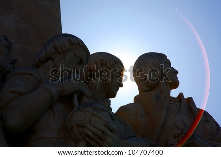 Sun flare: Padrao dos descobriments, Lisbon, Portugal - stock photo
