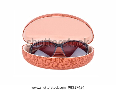 Sun glasses and eyeglasses case, isolated on the white background - stock photo