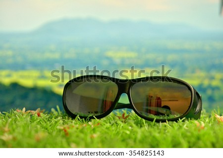 sun glasses in travel concept