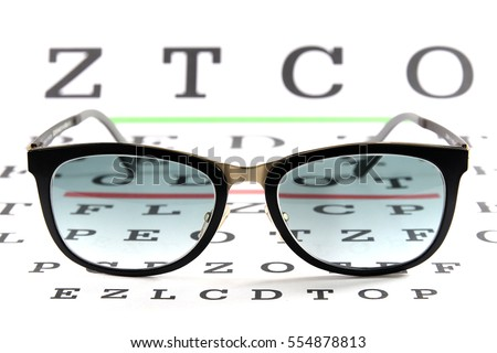 Sun glasses with short sight lens on chart background