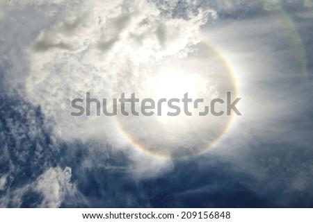 sun halo  circular rainbow - stock photo