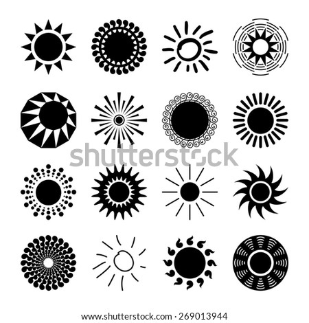 Sun icons set for computing web and app.  - stock photo