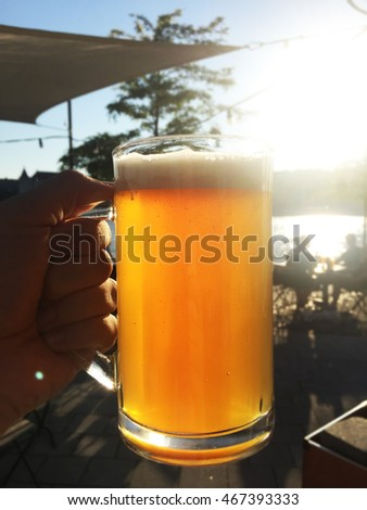 sun illuminates glass of beer