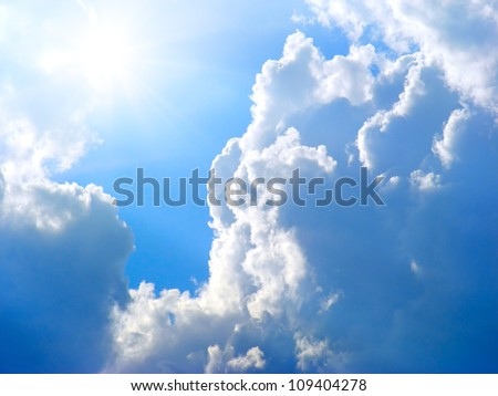 Sun in clouds - stock photo