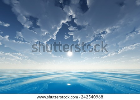 sun in clouds over blue sea - stock photo