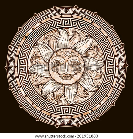 Sun in frame with a meander. Imitation antique graphics. hand drawing