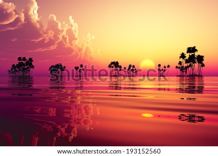 sun in pink clouds over coconut islands - stock photo