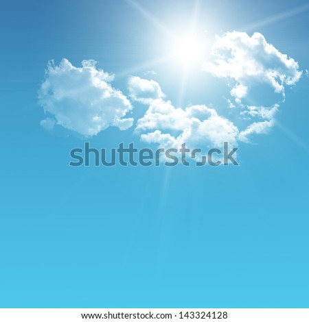 sun in the blue sky - stock photo