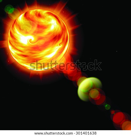 sun in the sky on a black background - stock photo