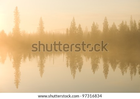 Sun is rising, foggy morning on the lake. - stock photo