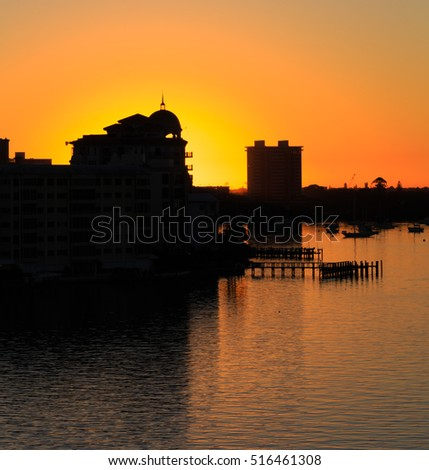 Sun just about to appear in Sarasota Harbor, Florida
