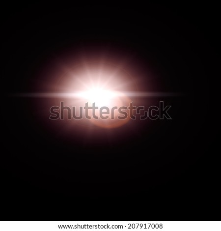 Sun lens flare effect isolated on black background. Can be added to photos by overlaying in screen mode. - stock photo