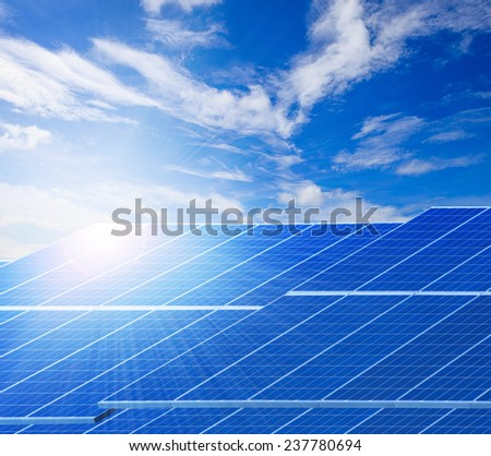 sun light and solar cell panels  against beautiful clear blue sky use as clean electricity power of pure natural background ,and related of ecology energy of nature  - stock photo