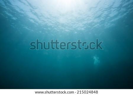sun light under the sea - stock photo