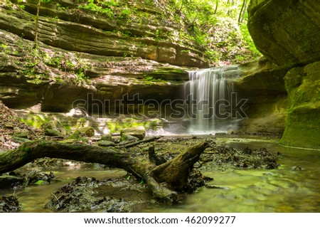 Sun lighting the canyon walls in the Upper Dells.  Matthiessen State Park, Illinois, USA.