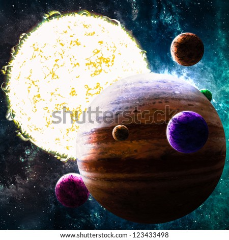 Sun like star with planets in deep space - stock photo