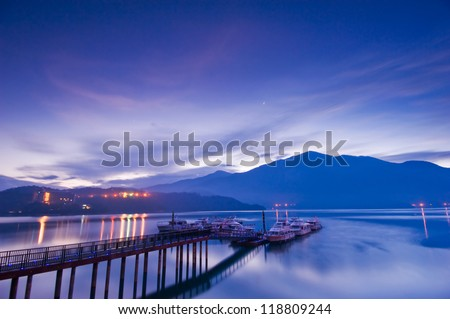 SUN MOON LAKE - stock photo
