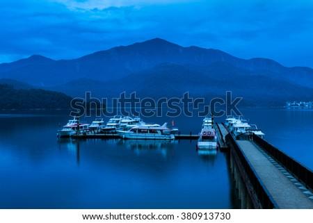 Sun Moon Lake at dawn, Nantou, Taiwan - stock photo