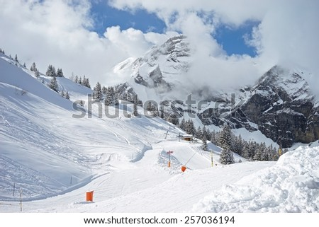 Sun on Skiing Slope in the Alps in Fruit, Switzerland