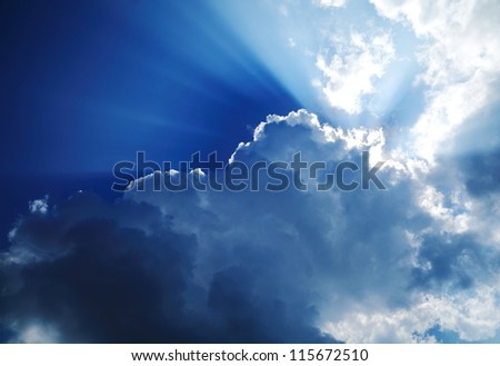 Sun on the dark sky. - stock photo