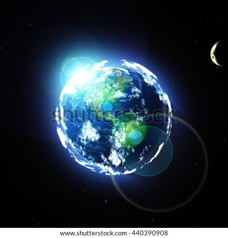 Sun over Earth planet, 3D rendering - stock photo
