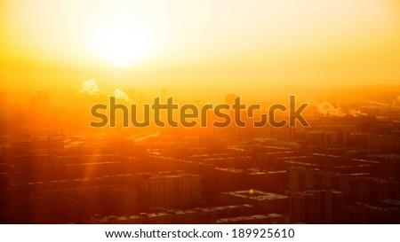 Sun over Yekaterinburg - stock photo
