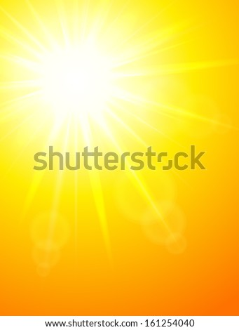 Sun portrait background, raster illustration.