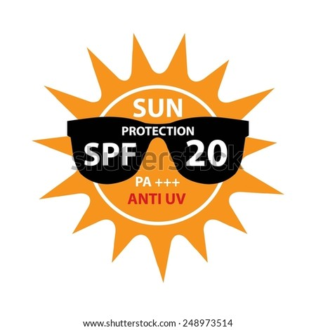Sun Protection With Anti-UV, SPF 20 PA+++ On Sun And Black Sunglasses Icon Isolated On White background. - stock photo