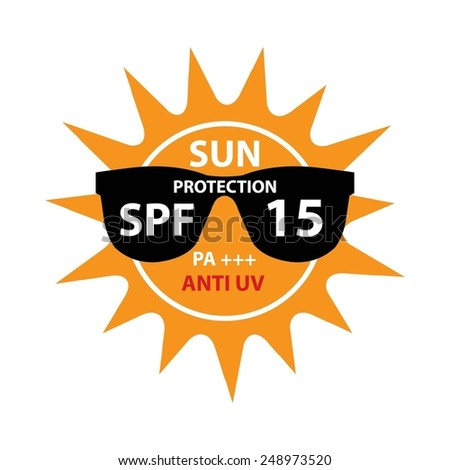 Sun Protection With Anti-UV, SPF 15 PA+++ On Sun And Black Sunglasses Icon Isolated On White background. - stock photo
