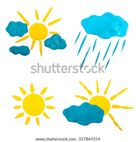 Sun, rain and clouds made of plasticine - stock photo