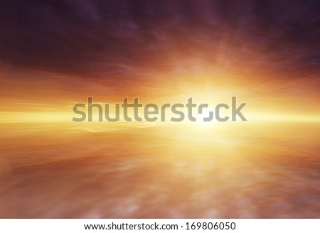 Sun rays shining brightly in clouds - stock photo