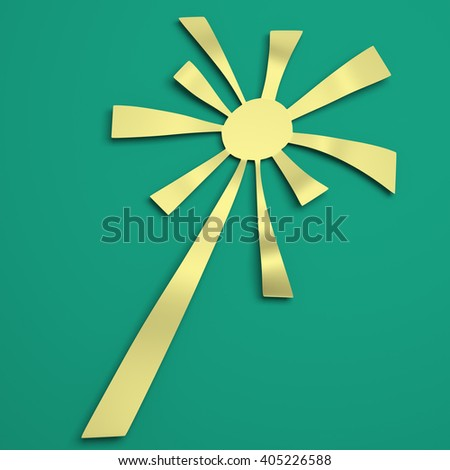 Sun rays with white and green retro color. 3D illustration - stock photo