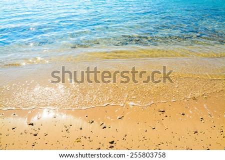 sun reflection on a golden shore. Shot in Alghero, Italy - stock photo