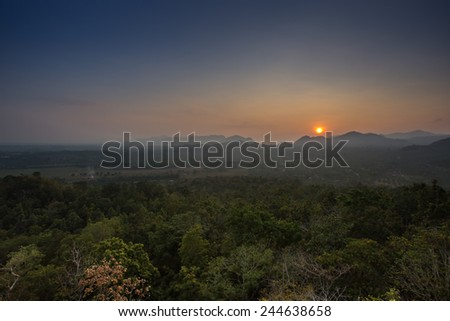 sun rise at the top of mountain in north of Thailand - stock photo