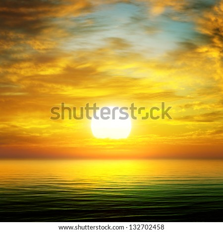 sun rise over the sea - stock photo