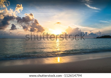 sun rise time at Hua-Hin beach in Thailand - stock photo