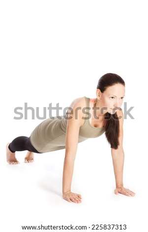 Sun Salutation Yoga poses in front of white background