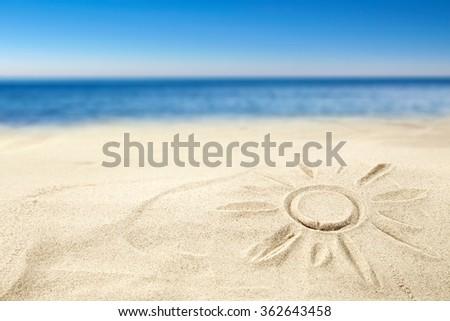 sun sand sea and sky  - stock photo