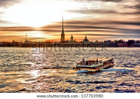 Sun set at Saint-Petersburg, Peter and Paul fortress - stock photo