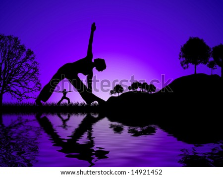 Sun set glow with two women reflected whilst doing yoga - stock photo