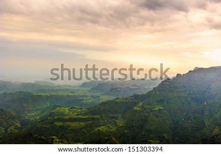 Sun set over the beautiful nature of Africa - stock photo