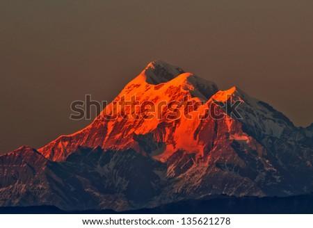 """sun set scene over Mountain """" Trishul"""" In Indian Himalaya - stock ..."""