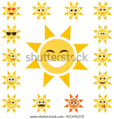 sun set with smiley faces. Raster version - stock photo