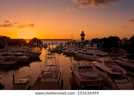 Sun setting in a marina in Hilton Head Island, South Carolina - stock photo