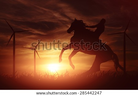 Sun Setting on a Peaceful Farm with horse in the foreground