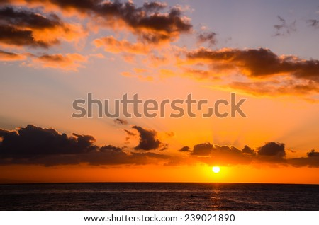 Sun Setting on the Atlantic Ocean in Tenerife Canary Island Spain